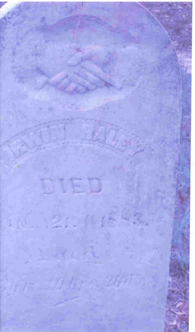 Ervin Raley stone in the Williams Cemetery Jan.1883