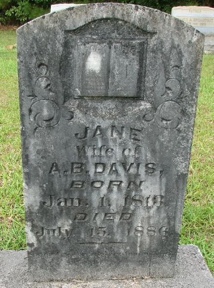 Jane Caldwell Davis born Jan. 1813 died July 15, 1886