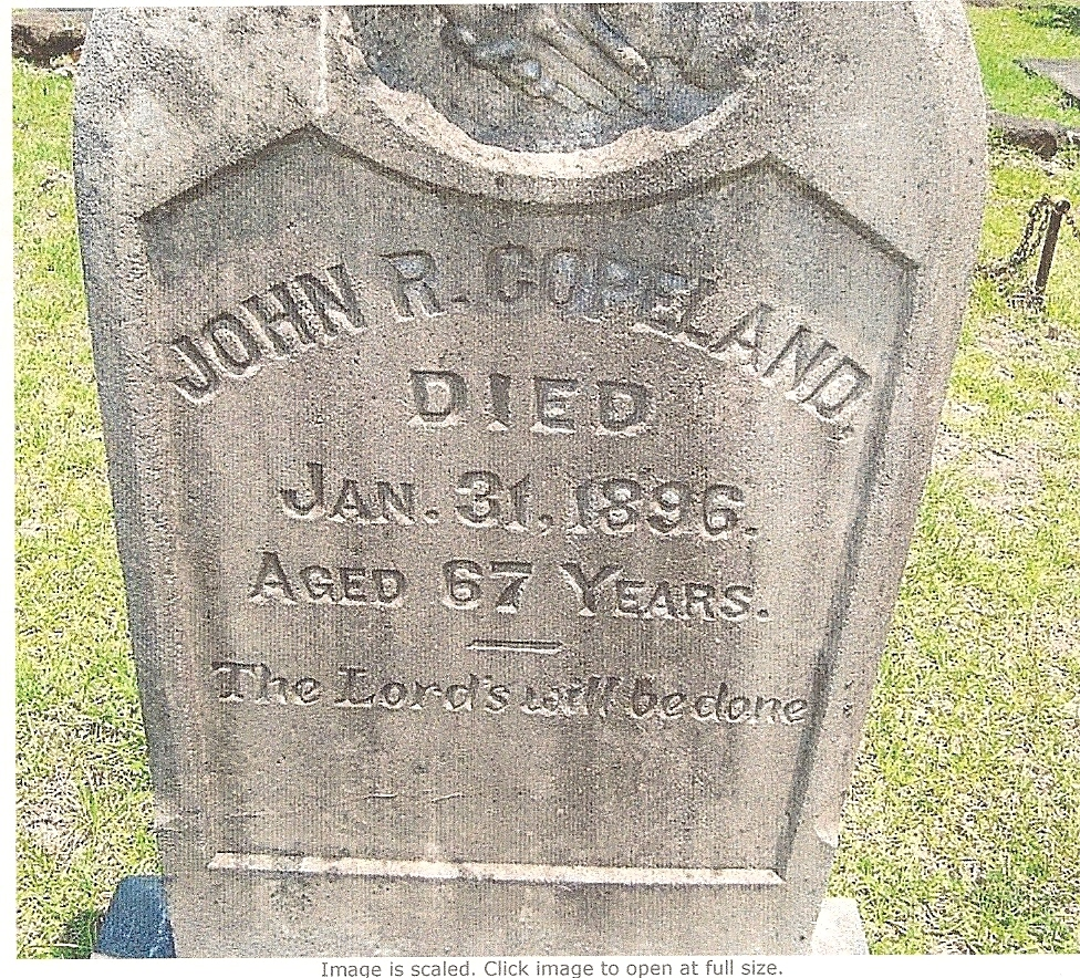 John Robert Copeland died 1896 Montgomary Co. Alabama age 67