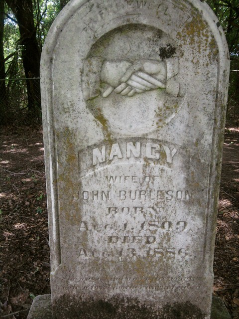 Nancy Mary Pope Burleson born Aug.1, 1809 S.C. died Aug 13, 1886 Freestone Co. TX.