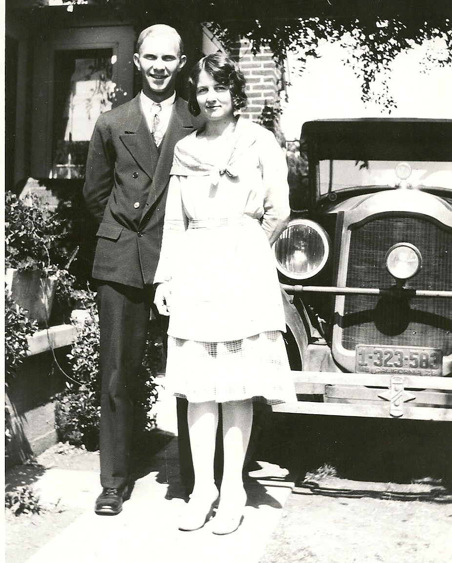 Norris Bergstrom & Alice Fisher 1928 at Gust Johnson's home Poinsetta Place 1121 Hollywood, California