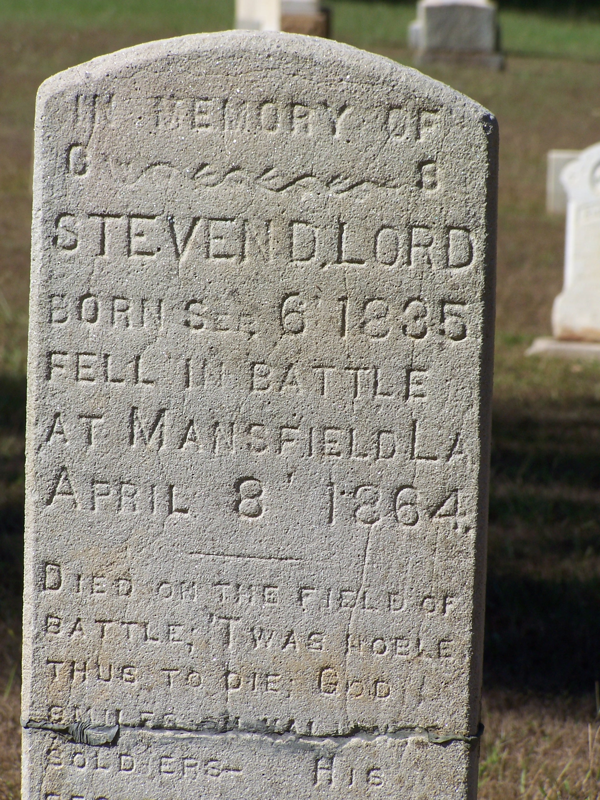 Steven Daniel Lord Sep. 6,1835-Apr. 8, 1864