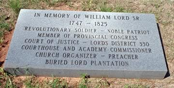 William Lord 1747-1825 buried in Wilkinson Co, Georgia