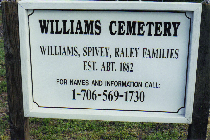 WILLIAMS CEMETERY-SPIVEY, RALEY 1882