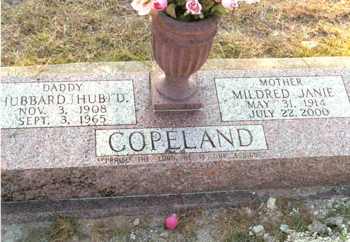 Hubbard Dick & Mildred Janie Copeland Stone in Meridian, TX.